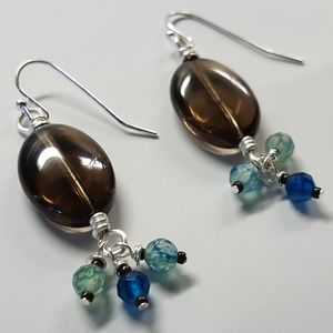 smokey quartz & blue agate gemstones drop earrings
